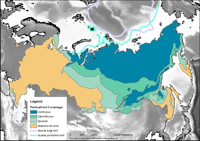The extent and type of Russian permafrost
