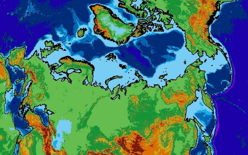 Siberan-centred map