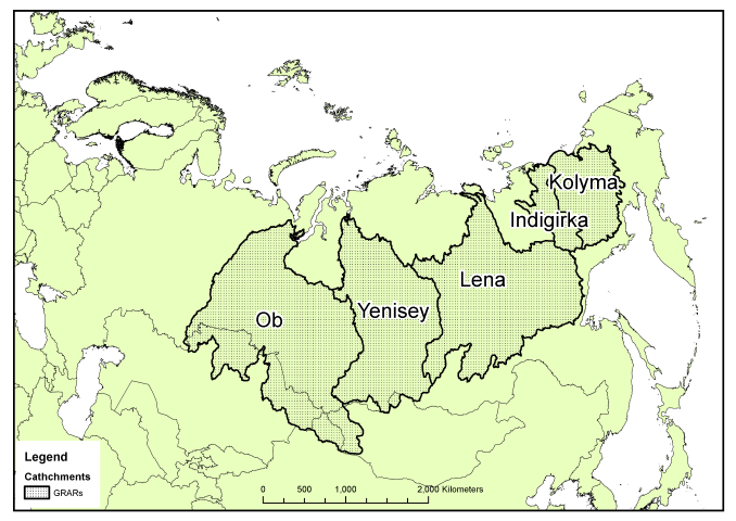 Catchment areas of the Great Russian Arctic Rivers