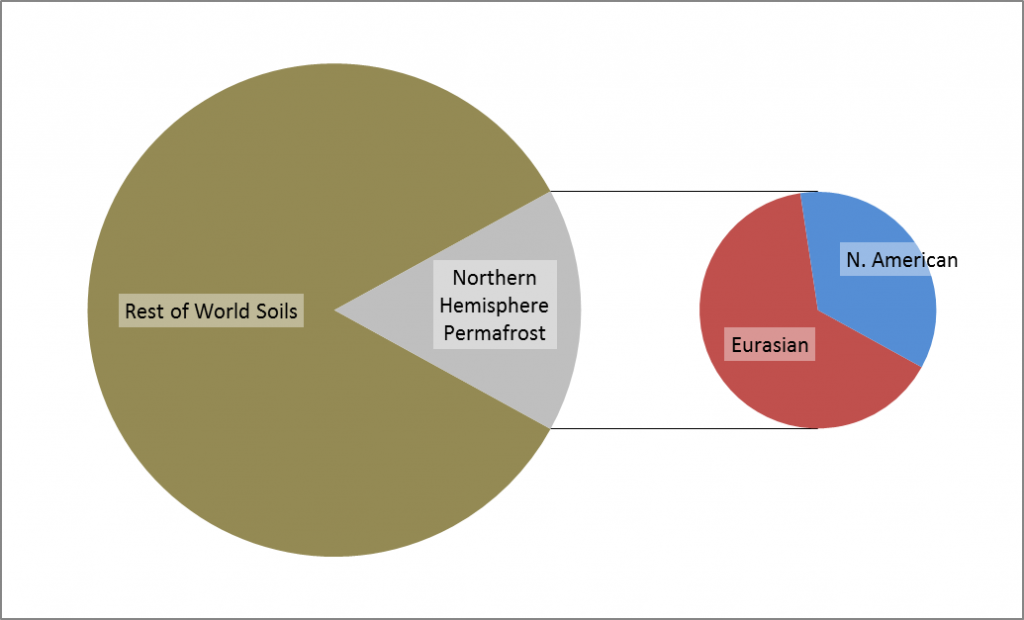 Northern Hemisphere permafrost is only 16% of the global soil area