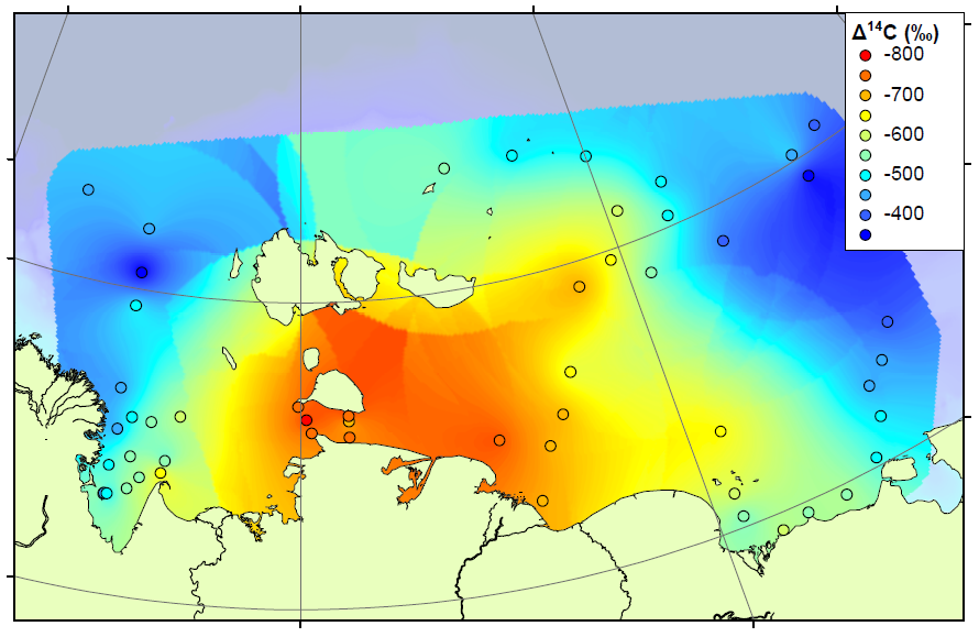 Map of radiocarbon ages across the ESAS