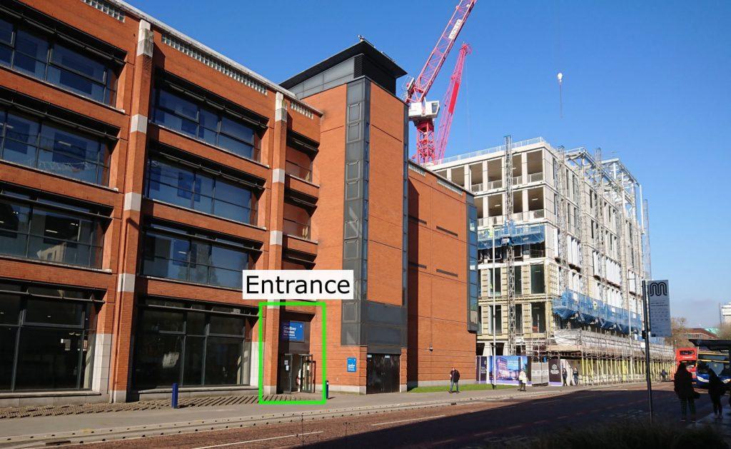 Geoffrey Manton Building, showing the main entrance